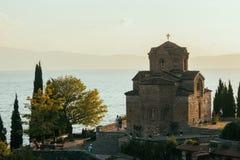 Kyrka av St John på Kaneo - Ohrid, Makedonien Arkivfoton