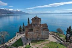 Kyrka av St John teologen - på Kaneo, Ohrid, Makedonien arkivbilder