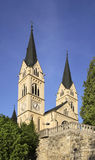 Kyrka av St jungfruliga Mary av Lourdes i Brestanica Kommun av Krsko slovenia Fotografering för Bildbyråer