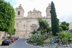 Kyrka av St Lawrence på Vittoriosa på Malta Royaltyfri Fotografi