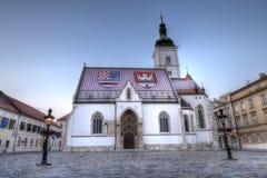 Kyrka av St Mark i fyrkanten för St Mark ` s, Zagreb, Kroatien fotografering för bildbyråer