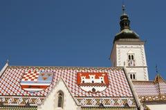 Kyrka av St Mark, Zagreb. Kroatien Arkivfoton