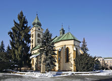 Kyrka av St Nicholas i Liptovsky Mikulas slovakia Royaltyfri Fotografi