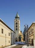 Kyrka av St Nicholas i Liptovsky Mikulas slovakia arkivbilder