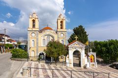 Kyrka av St Panteleimon i Siana, Rhodes ö, Grekland royaltyfri foto