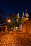 Kyrka av St Peter och St Paul på natten, Vysehrad, Prague, Tjeckien Arkivfoto