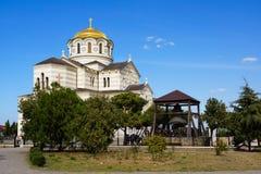 Kyrka av St Vladimir Hersonissos crimea September 2016 arkivfoton