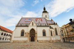 Kyrka av StMarko i staden Zagreb Royaltyfria Foton