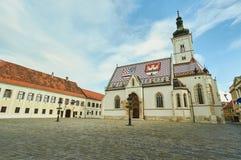 Kyrka av StMarko i staden Zagreb Fotografering för Bildbyråer