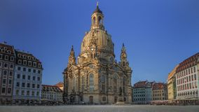 Kyrka av vår dam Dresden Germany utan folk Royaltyfri Foto