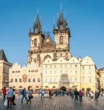 Kyrka av vår dam för Tyn i Prague Arkivfoto
