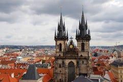Kyrka av vår dam framme av Tyn, Prague, tjeck Royaltyfria Foton