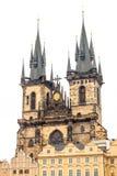 Kyrka av vår Lady för Tyn i Prague Royaltyfri Fotografi