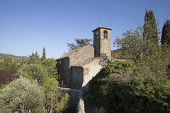 Kyrka av Villerouge Termenes, Frankrike royaltyfri fotografi