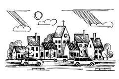 Kyrka bilar Moln Stads- dragit färgpulver för vektor hand Royaltyfri Illustrationer
