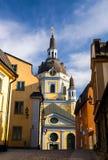 Kyrka Catherine Church de Katarina con el reloj en la bóveda, Estocolmo, S imagen de archivo
