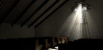Kyrka för kors för målad glasfönster Arkivbild