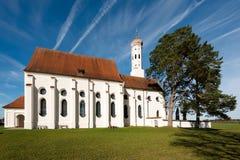 Kyrka för St Coloman nära Fussen i Bayern, Tyskland arkivfoto