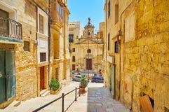 Kyrka för St Lucy i Valletta, Malta arkivfoto
