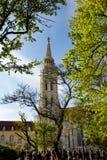 Kyrka för St Matthias i solen, Budapest, Ungern Fotografering för Bildbyråer