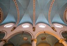 Kyrka för St Michael ` s, Cornhill Den historiska kyrkan i staden av London planlade vid gärdsmygen och Hawksmoor, med dengotiska Arkivbild