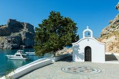 Kyrka för St Paul ` s i Lindos, Rhodes, Grekland Royaltyfri Bild