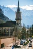 Kyrka för St-silvermynt värt 2 shillingförsamling i Vaduz Royaltyfri Foto