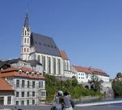 Kyrka för St Vitus i Cesky Krumlov Arkivfoton