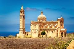 Kyrka för Ta Pinu i Gharb i Malta Royaltyfri Foto