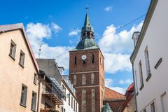 Kyrka i Biskupiec royaltyfria foton