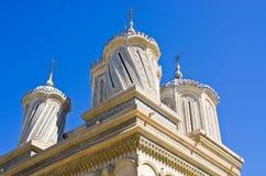 Kyrka i Curtea de Arges, Rumänien Arkivfoto