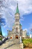 Kyrka i den Krupowki gatan i Zakopane, Polen Arkivbild