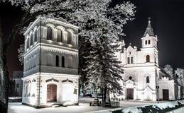 Kyrka i den Pasvalys staden, Litauen Arkivbild