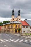 Kyrka i den Podolínec staden Arkivfoton