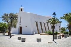 Kyrka i Es Cubells, Ibiza, Spanien Arkivbild