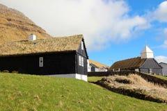 Kyrka i Faroeen Island Royaltyfria Foton