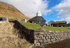 Kyrka i Faroeen Island Arkivfoto