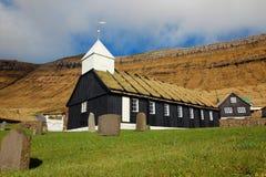 Kyrka i Faroeen Island Arkivfoton