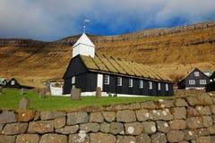 Kyrka i Faroeen Island Arkivbild