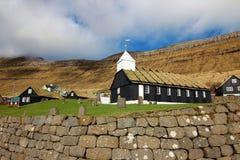 Kyrka i Faroeen Island Arkivbilder