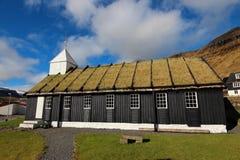 Kyrka i Faroeen Island Royaltyfri Fotografi