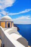 Kyrka i Fira, Santorini Arkivbild