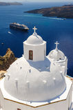 Kyrka i Fira, Santorini Royaltyfri Bild