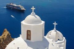 Kyrka i Fira, Santorini Arkivfoto