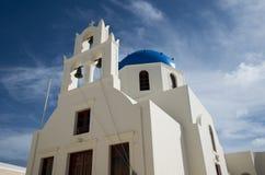 Kyrka i Ia, Santorini, Grekland arkivbild