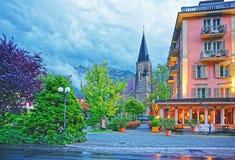 Kyrka i Interlaken i Bern Canton i Schweiz Royaltyfri Bild