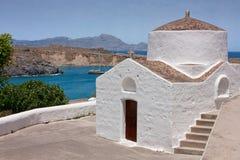 Kyrka i Lindos, Grekland Arkivbilder