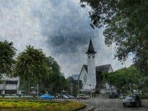 Kyrka i Menteng digital konst Arkivfoto