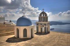 Kyrka i Santorini Arkivbilder