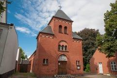 Kyrka i stad av Ringsted i Danmark arkivbild